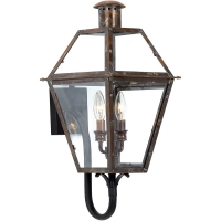 Quin Samll Exterior Wall Lantern is Avail as Shown in Antique Copper. Quin is NOT avail in Gas. (2) 60W B-Bulbs are required but not included.