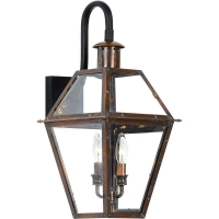 Quincy Small Exterior Wall Lantern is Avail as shown in Antiqued Copper. Quincy is NOT avail in Gas. (2) 60W B-Bulbs are required but not included