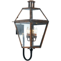 Quin Large Exterior Wall Lantern is avail as shown in Antique Copper. Quin is Not Avail in Gas. (4) 60W B-Bulbs are required but not included.
